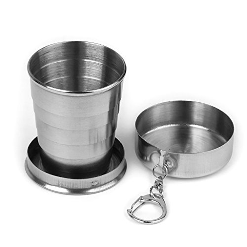 Cheenjo Collapsible Cup Stainless Steel Travel Camping Hiking Folding Collapsible Cup Portable Outdoor Telescopic Mug 75ml With Key Ring