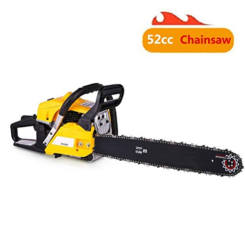 shaofu 52cc 20″ Gas Powered Chainsaws 2 Stroke Power Cutting Wood Chainsaw Tool Bag (US Stock) (52cc – Yellow)
