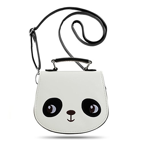 ossy PU Leather Purse Animal Handbags - Black White Panda ()
