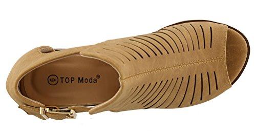 Top Moda - Women's Laser Cut Open Toe Short Heel Booties,8 B(M) US,Black by Top Moda (Image #5)