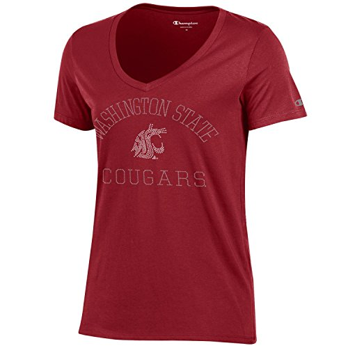Champion NCAA Washington State Cougars Women's University Short sleeve V-Neck T-Shirt, Small, Cardinal (Washington Jersey State University)