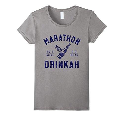Women's ShirtWerks Marathon Drinker Boston T-Shirt Large Slate (Marathon Tshirt)