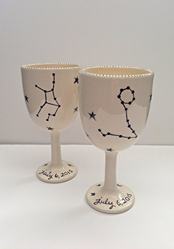 personalized astrological wedding wine goblets