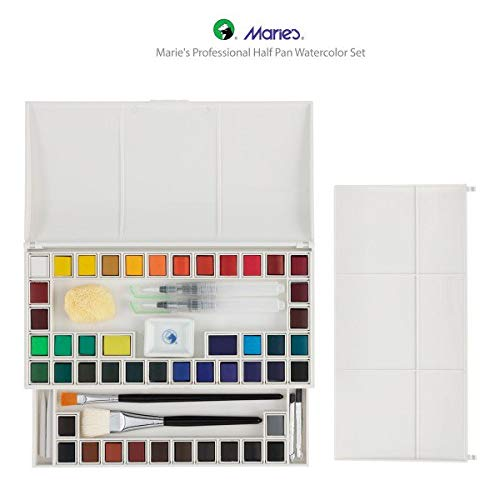 Marie's Watercolor Paint Set Professional 48 Half Pans w/ 4 Paint Brushes Premium Artist Quality High Pigment, Lightfast & Permanent - [Professional Set of 48 + Accessories] by Marie's