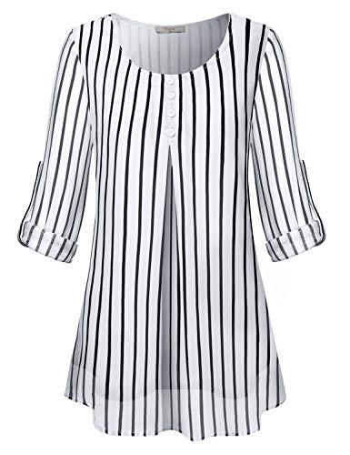 Cestyle Women Blouse,Ladies Chiffon Tunic Tops 3/4 Sleeve Roll Tab Scoop Neck Loose Fit Button Details Shirts Elegant Feminine Fall Fashion Wear Black Stripes XX-Large