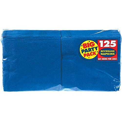 Amscan 6543217948863 Big Party Beverage Napkins 5-Inch, 125/Pkg, Bright Royal Blue 3-Pack