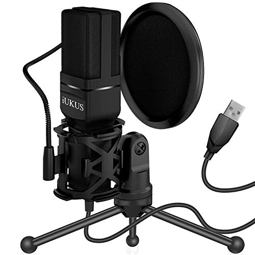 IUKUS USB Microphone, PC Microphone USB Condenser Recording Gaming Mic with Stand & Filter for iM@c PC Laptop Desktop Windows Computer