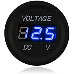 WATERWICH 12-24V DC LED Digital Display Voltmeter Waterproof Voltage Meter with Terminals for Car Automobiles Motorcycle Truck Boat Marine (Blue)