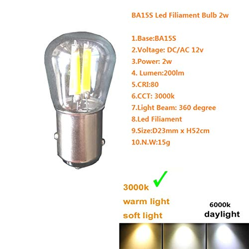 BA15S Led Filiament Bulb 2w Warm White 3000k DC AC 12V Boat Car Light Replacement For RV Camper SUV MPV Turn Tail Reading Back Up Reverse Brake Tail Lights Outdoor Landscape Path Deck Light (4 Pack)