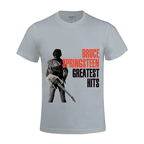 Bruce Springsteen Greatest Hits Men Tee Round Neck Custom Grey (Party City Bay Plaza)
