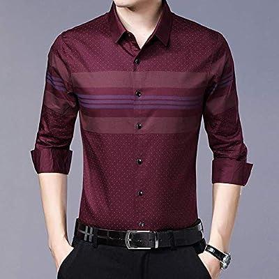 CLZC Camisa a Rayas de Manga Larga para Hombre Estilo Slim Fashions Vintage Camisa para Hombre,Rojo,XXL: Amazon.es: Deportes y aire libre