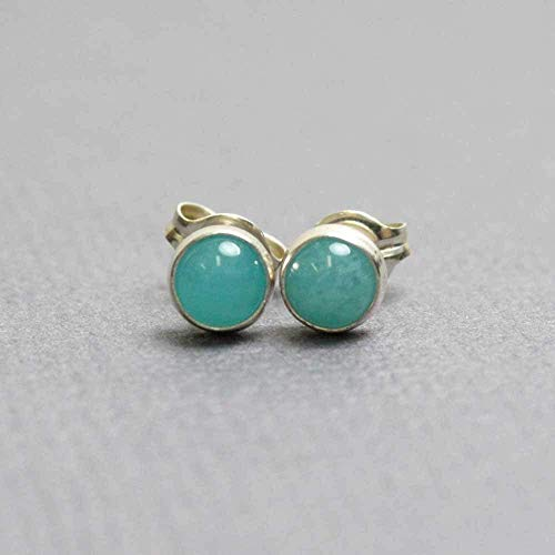 (Amazonite Stud Earrings, Small 4mm, Sterling Silver)