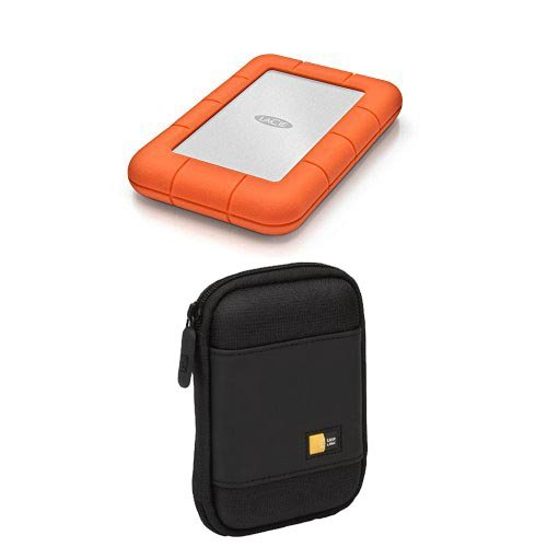 LaCie Rugged Mini 1TB USB 3.0/USB 2.0 Portable Hard Drive (LAC301558) With Portable Hard Drive Case (Black)