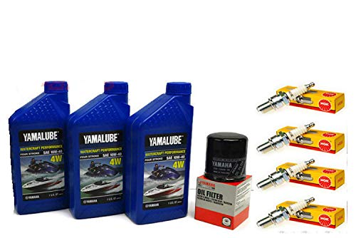YAMAHA 2005-2015 VX110 Deluxe Cruiser Sport VX 110 V1 Oil Change Kit w/NGK Spark Plugs Set ()
