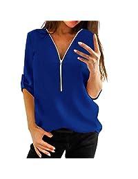 kingf Womens Long Sleeve Loose Blouse Zipper Casual Shirt Tops T-Shirt
