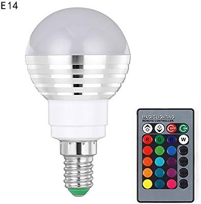 Alftek E27/B22/E14/GU10 - Bombilla LED con Mando a Distancia por Infrarrojos (16 Colores, 3 W, RGB), E14