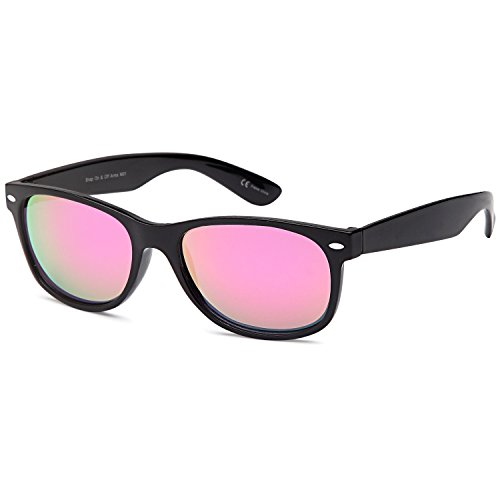GAMMA RAY UV400 52mm Classic Style Sunglasses - Mirror Pink Lens on Black - Sunglasses Wayfarer Mirror
