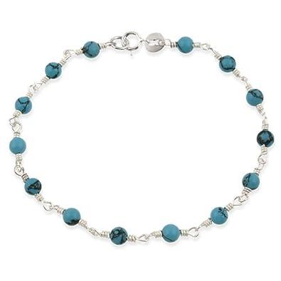 81stgeneration Women's .925 Sterling Silver Green Turquoise Bead Bracelet, 17.5 + 2cm Extender