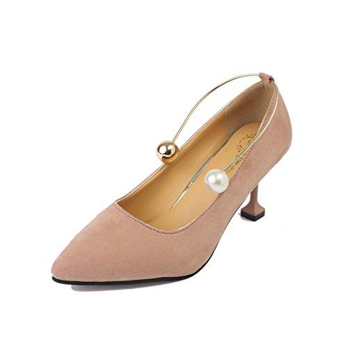 ZHZNVX der Neue Fall Hohe Spitzen Stöckelschuhen Pearl Ring Matt Fein mit Einzelnen Schuhe Flache Mund Low Damenschuhe, Rosa 39