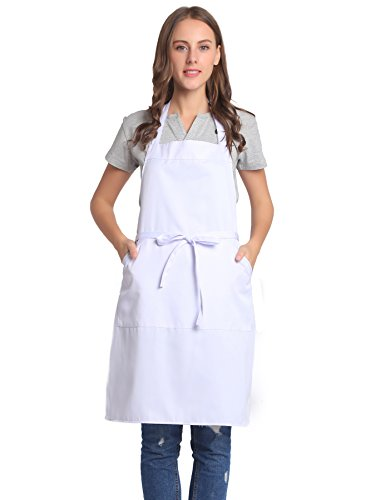 Apron Adjustable Cotton (BIGHAS Adjustable Bib Apron with Pocket, Extra Long Ties for Women, Men Kitchen, Home, Cooking (White))