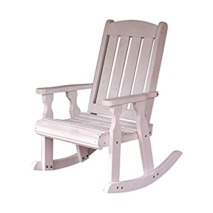 the latest 8e7ad 331ed Amish Heavy Duty 600 Lb Mission Pressure Treated Rocking Chair (Semi-Solid  White Stain)