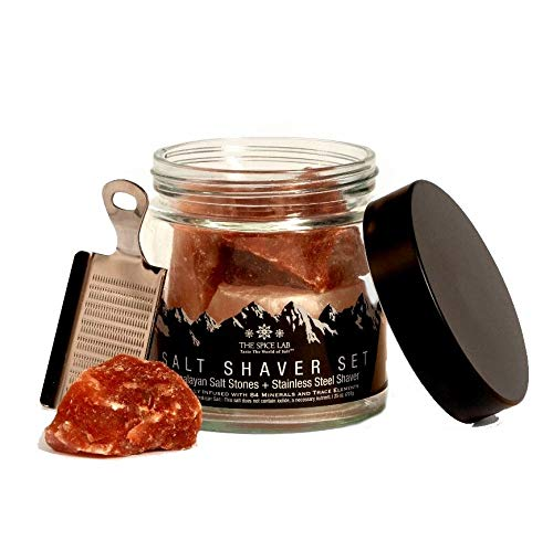 The Spice Lab Pink Himalayan Salt Sones- Gourmet Pure Crystal - Nutrient and Mineral Dense for Health - Kosher and Natural Certified (Salt Shaver Set)