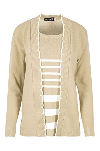 Womens Ladies Open Front Long Sleeves Knitted Twin Cardigan Jumper Sweater (Sweater Jumper Set)