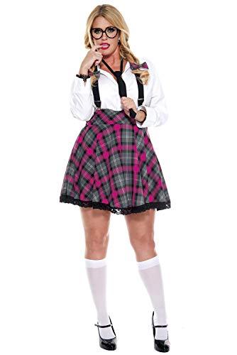 Music Legs Women's Plus-Size High Class Nerdy, Pink/Black, 1X/2X ()
