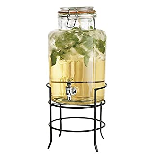 Elegant Home Beverage Drink Dispenser Durable Glass on Stand 1.5 Gallon with Spigot Includes Flavored Capsule (B01MR6RJZ0)   Amazon price tracker / tracking, Amazon price history charts, Amazon price watches, Amazon price drop alerts