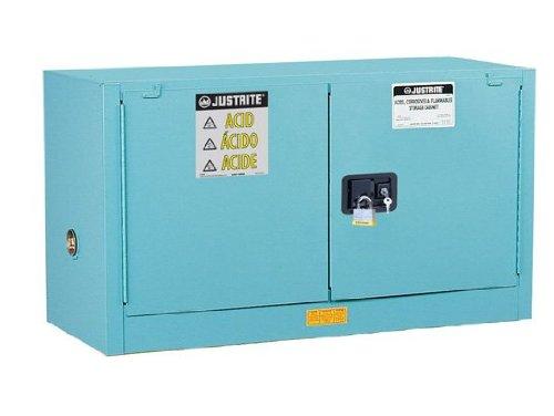 Justrite 891722 Sure-Grip EX Galvanized Steel 2 Door Self Close Piggyback Safety Cabinet, 17 Gallon Capacity, 43
