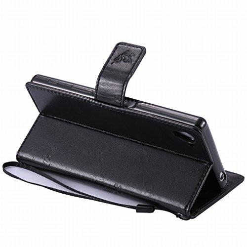 Custodia Sony Xperia Z5 Cover Case, Ougger Alberi Gatto Printing Portafoglio PU Pelle Magnetico Stand Morbido Silicone Flip Bumper Protettivo Gomma Shell Borsa Custodie con Slot per Schede (Nero)