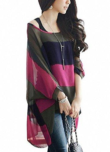 Minetome Femme T-shirt avec débardeur À rayure Manches chauve souris Pull-over Manches longues avec Vest ( Rose EU XL )