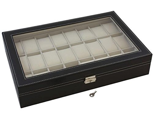 TMS Black Leather 24 Mens Watch Box Large Glass Top Display Jewelry Case Organizer