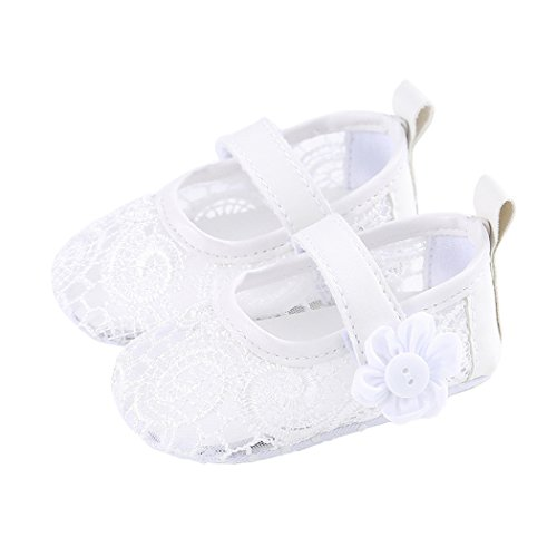 Baby Girl Ballet Shoe Floral Mesh Lace Breathable Flat Mary Jane Crib Shoes White Size S