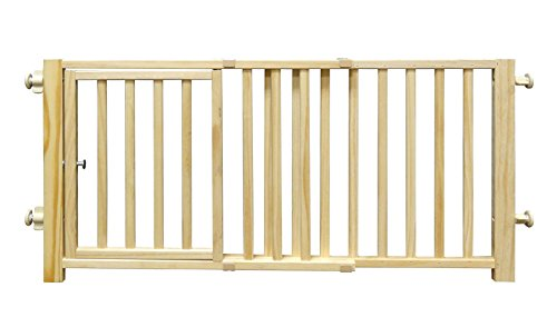 "Four Paws Walk Over Wooden Dog Gate, 30-44"" W by 18"" H"