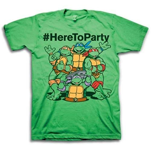 Teenage Mutant Ninja Turtles #HereToParty Hashtag Here To Party Adult Green T-Shirt (Adult Large)