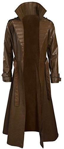 LP-FACON Mens Gambit Channing Tatum Remy Etienne Costume Brown Leather Trench Coat -