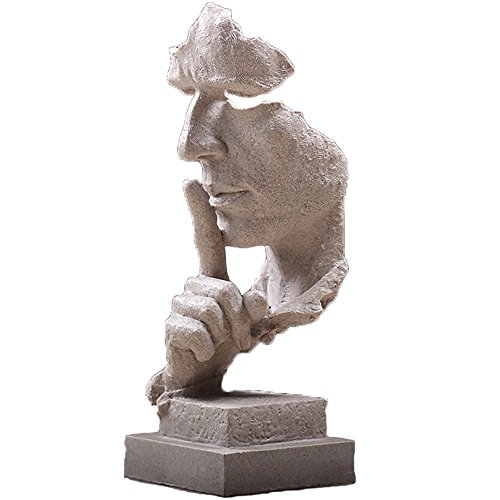 Nice purchase Resin Silence is Gold People Statues Sculptures Creative Room Crafts Cabinet Home Office Decoration Art Ornaments Thinker Statues Vintage Decoration Figurine Sculptures Abstract -