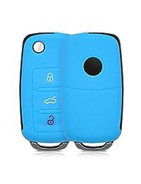 kwmobile Funda de silicona para llave de 3 botones para coche VW Skoda Seat - cover de llave - key case en azul claro