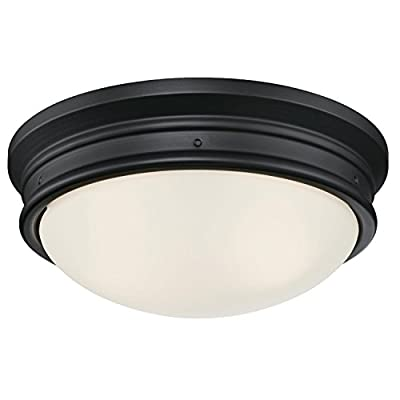 Westinghouse Meadowbrook Indoor Flush-Mount Ceiling Fixture, Matte Black Finish with Frosted Glass