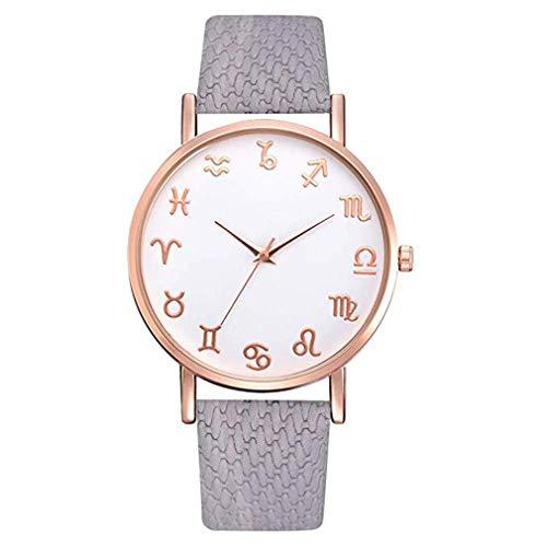 Constellation Ladies Quartz Small Watch - Windoson Fashion Rose Gold Constellation Teng Grain Leather Strap Simple Women's Quartz Watch (Gray)