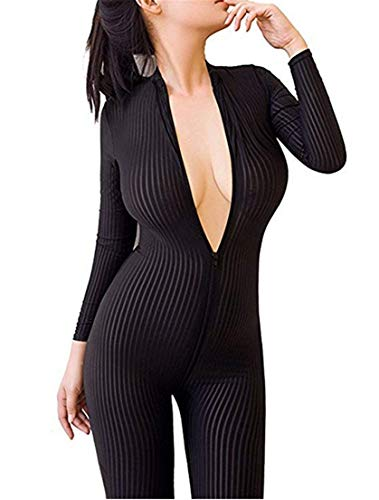 liangliang Sheer Opaque Front Zip Vertical Stripes Spandex Zentai Catsuit Bodysuit Night Club