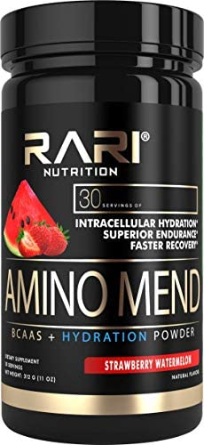 RARI Nutrition – Amino MEND – 100 Natural BCAA Powder – Essential Amino Acids – Vegan and Keto Friendly – Endurance and Recovery – Pre Intra Post Workout – 30 Servings Strawberry Watermelon