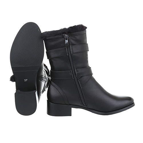 Zapatos para mujer Botas Tacón ancho Botas Western Ital-Design Negro