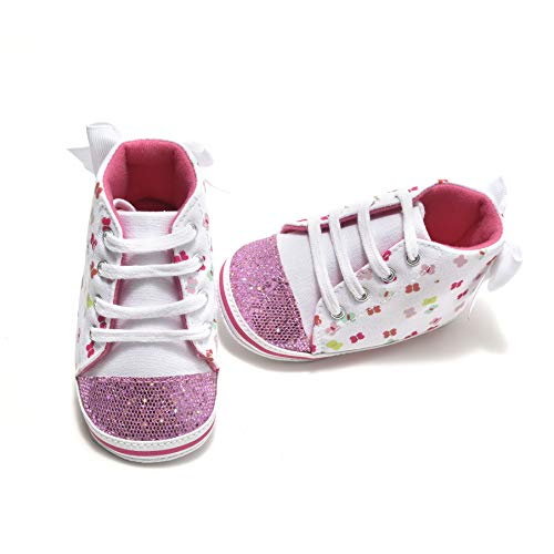 Comway Baby Girls Walking Shoes Infant Newborn Toddler Soft Sole Canvas Sneakers for First Walkers 0-18 (Pink Butterfly, 12-18 Months)