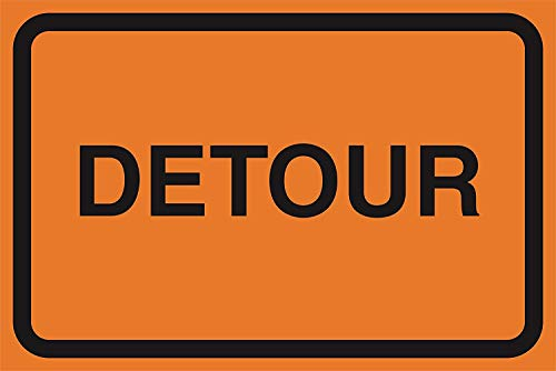 DYTrade Tin Sign Detour Orange Road Street Construction Area Work Zone Safety Notice Warning Business Signs Commercial Sign from DYTrade