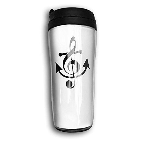 Coffee Mug, Anchor Musical Note White Milk Tea Drinking Water Bottle Coffee Mug Reusable Plastic Curve Travel Mug For Women Men Fathers Day Gifts