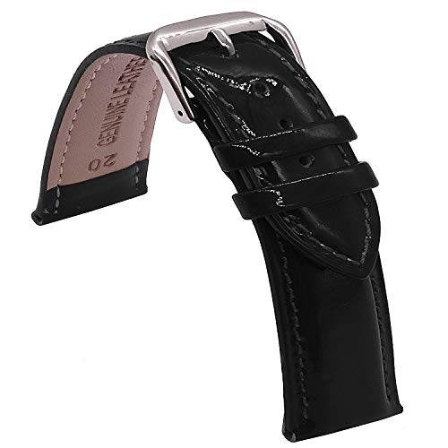 TIME4BEST Patent Leather Watch Band 16mm 18mm 20mm (16mm, Black)