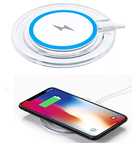 Kingrise Wireless Charger Qi Wireless Charging Pad For iPhone 8 / iPhone 8 plus / iPhone X / Galaxy S6 / S6 Edge / S7 / S7 Edge / S8 / S8 Edge / Note5 Standard Qi Charger Pad (Blue)