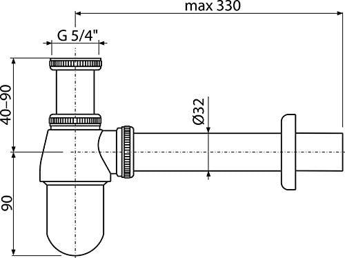Botellas de sif/ón para lavabo de 32 con tuerca de 3.18 cm completamente de metal
